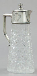 Silver Holloware, Continental:Holloware, A GERMAN SILVER AND CUT GLASS PITCHER . Maker unidentified,Germany, circa 1900 . Marks: (half sun ray), (crescent moon and ...