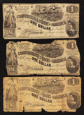 Confederate Notes:1862 Issues, T44 $1 1862. Three Examples.. ... (Total: 3 notes)