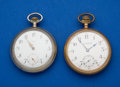 Timepieces:Pocket (post 1900), Two Omega 17 Jewel Pocket Watches One Is A Private Label Runners. ... (Total: 2 Items)