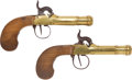 Antiques:Antiquities, Pair of Belgian Brass Frame Boxlock Percussion Pistols.... (Total:2 Items)