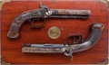 Antiques:Antiquities, Rare Pair of Cased British Side-by-Side Double Barrel PercussionPistols and Accoutrements by H. Tatham, Jr. ...
