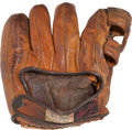 Baseball Collectibles:Others, 1929 Willis Hudlin Fielder's Glove Worn as He Pitched Babe Ruth's500th Home Run....