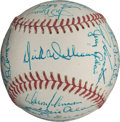 Autographs:Baseballs, 1973 Oakland Athletics World Championship Team Signed Baseball,PSA/DNA 8.5....