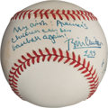 Autographs:Baseballs, 1995 President Bill Clinton & Vice President Al Gore SignedBaseball Wishing for End to MLB Strike....