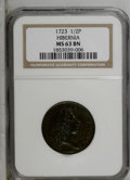 1723 1/2P Hibernia Halfpenny MS63 Brown NGC. Nelson-8, Breen-159. The Beaded Cincture variety of this popular colonial p...