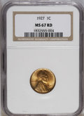 1927 1C MS67 Red NGC. This piece displays lovely orange lustrous surfaces with solidly struck devices. A few minuscule t...