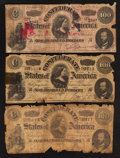 Confederate Notes:1864 Issues, T65 $100 1864. Three Examples.. ... (Total: 3 notes)