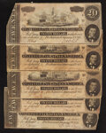 Confederate Notes:1864 Issues, T67 $20 1864. Five Examples.. ... (Total: 5 notes)