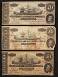 Confederate Notes:1864 Issues, T67 $20 1864. Three Examples.. ... (Total: 3 notes)
