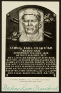 Baseball Collectibles:Others, Wahoo Sam Crawford Dual Signed White Hall of Fame Plaque Postcard....