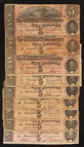 Confederate Notes:1864 Issues, T69 $5 1864. Nine Examples.. ... (Total: 9 notes)