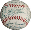 Autographs:Baseballs, 1953 St. Louis Browns Team Signed Baseball with Satchel Paige....