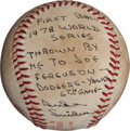 Baseball Collectibles:Balls, 1978 World Series Game Six First Pitch Baseball Thrown by DukeSnider....