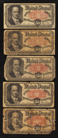 Fractional Currency:Fifth Issue, Fr. 1381 50¢ Fifth Issue. Five Examples. Good or better.. ...(Total: 5 notes)
