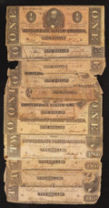 Confederate Notes:1864 Issues, Confederate Aces and Deuces. Eleven Examples.. ... (Total: 11 notes)