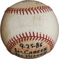 Baseball Collectibles:Balls, 1986 Mike Scott No-Hitter & Western Division Clinching GameUsed Baseball....
