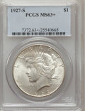Peace Dollars: , 1927-S $1 MS63+ PCGS. PCGS Population (1748/1316). NGC Census:(936/1111). Mintage: 866,000. Numismedia Wsl. Price for prob...