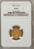 Liberty Quarter Eagles: , 1852-O $2 1/2 XF45 NGC. NGC Census: (60/363). PCGS Population(56/101). Mintage: 140,000. Numismedia Wsl. Price for problem...