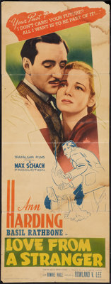 "Love from a Stranger (A Night of Terror) (United Artists, 1937). Insert (14"" X 36""). Thriller"