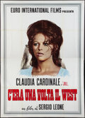 "Movie Posters:Western, Once Upon a Time in the West (Euro International Films, 1968). Italian 4 - Foglio (55"" X 78"") Claudia Cardinale Style. Weste..."