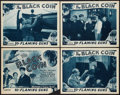 "Movie Posters:Serial, The Black Coin (Stage and Screen Productions, 1936). Title Lobby Card and Lobby Cards (3) (11"" X 14"") Chapter 10 - - ""Flamin... (Total: 4 Items)"