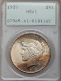 Peace Dollars: , 1925 $1 MS61 PCGS. PCGS Population (169/35634). NGC Census:(148/40160). Mintage: 10,198,000. Numismedia Wsl. Price for pro...