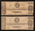 Confederate Notes:1862 Issues, T54 $2 1862.. T61 $2 1863.. ... (Total: 2 notes)