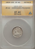 Bust Dimes: , 1829 10C Small 10C -- Corroded, Polished -- ANACS. XF40 Details.JR-12. NGC Census: (5/228). PCGS Population (15/204). Min...