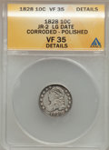 Bust Dimes: , 1828 10C Large Date -- Corroded, Polished -- ANACS. VF35 Details. JR-2. NGC Census: (0/21). PCGS Population (2/19). Mintag...