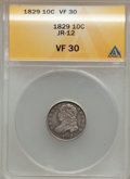 Bust Dimes: , 1829 10C Small 10C VF30 ANACS. JR-12. NGC Census: (5/237). PCGS Population (5/226). Mintage: 770,000. Numismedia Wsl. Pric...