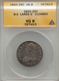 Bust Quarters: , 1820 25C Large 0 -- Cleaned -- ANACS. VG8 Details. B-2. PCGS Population (11/98). (#5329)...