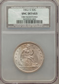 Seated Half Dollars, 1862-S 50C -- Obverse Scratched -- NCS. Unc Details....