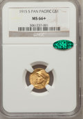 Commemorative Gold, 1915-S G$1 Panama-Pacific Gold Dollar MS66+ NGC. CAC....