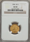 Classic Quarter Eagles, 1836 $2 1/2 Block 8 AU58 NGC. Second Head of 1837, Breen-6144,Variety-15, R.2....