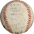 Baseball Collectibles:Balls, 1988 First Wrigley Field Night Game Home Run Baseball, Hit by Lenny Dykstra....