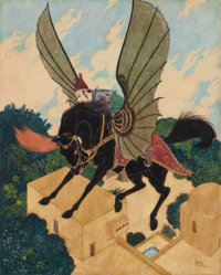 """EDMUND DULAC (British, 1882-1953) """"The Prince is Taken Back to the Golden Palace By the Magic Black Horse"""", Si..."""