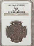 Bust Half Dollars, 1829 50C Small Letters VF30 NGC. 0-105. NGC Census: (23/972). PCGSPopulation (53/1199). Mintage: 3,712,156. Numismedia Wsl...