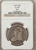 Bust Half Dollars, 1810 50C Good 4 NGC. 0-109. NGC Census: (1/554). PCGS Population(1/644). Mintage: 1,276,276. Numismedia Wsl. Price for pro...