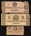 Confederate Notes:Group Lots, Mixed Lot of Three Circulated Confederate Notes. ... (Total: 3notes)