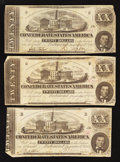 Confederate Notes:1862 Issues, T51 $20 1862. Three Examples.. ... (Total: 3 notes)