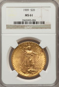 Saint-Gaudens Double Eagles: , 1909 $20 MS61 NGC. NGC Census: (281/666). PCGS Population(206/1431). Mintage: 161,282. Numismedia Wsl. Price for problemf...