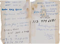 "Autographs:Others, 1980's Pete Rose Handwritten ""Little Black Book."" ..."
