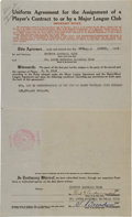 Autographs:Others, 1930 Dizzy Dean Purchased by St. Louis Cardinals Contract....