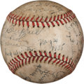 Baseball Collectibles:Balls, 1935 First Major League Night Game Used Baseball Signed by Cincinnati Reds Team....