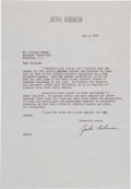 "Autographs:Letters, 1952 Jackie Robinson ""Importance of Baseball"" Signed Letter, PSA/ DNA Gem Mint 10...."