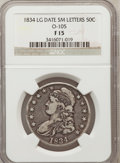 Bust Half Dollars, 1834 50C Large Date, Small Letters Fine 15 NGC. 0-105. NGC Census:(2/762). PCGS Population (7/834). Mintage: 5,352,006...