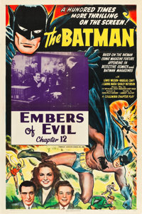 "The Batman (Columbia, 1943). One Sheet (27"" X 41"") Chapter 12 -- ""Embers of Evil."""