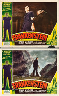 "Movie Posters:Horror, Frankenstein (Realart, R-1951). Lobby Cards (2) (11"" X 14"").. ...(Total: 2 Items)"