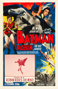 "Movie Posters:Serial, The New Adventures of Batman and Robin (Columbia, 1949). One Sheet(27"" X 41"") Chapter 12 -- ""Robin Rides the Wind."". ..."
