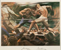 Boxing Collectibles:Autographs, Jack Dempsey and Gene Tunney Multi Signed Lithograph. ...